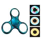 Spinner,CAMTOA LED leuchtende Licht 3 Modus Hand Spinner Finger Spielzeug, perfekt für ADD,ADHS,Angst und Autismus Erwachsene Kinder Fidget Toys Blau