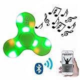 Nibesser Fidget Spinner LED Light Fidget Toys Bluetooth Lautsprecher Finger Spielzeug für Kinder und Erwachsene 1 Stück (Grün)