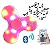 LED Musik Spinner,CAMTOA Bunte LED leuchtende Fidget Hand Spinner wiederaufladbare Bluetooth Lautsprecher Finger Spielzeug Toys,perfekt für ADD,ADHS,Angst und Autismus Erwachsene Kinder Geschenke Musik Rosa