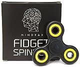 Mindrax Fidget Spinner | Hochwertiges Finger-Spielzeug mit High-Speed Keramik-Lager | 1-2 min Drehzeit (Schwarz/Gelb)