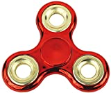 Krazy Spinner Hand Spinner Finger Tri-Spinner Fidget Anti Stress Spielzeug für Kinder und Erwachsene Rot/Gold Metallic K1005